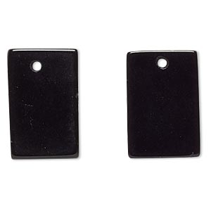 drop, black obsidian (natural), 20x13mm-20x14mm flat rectangle, b grade, mohs hardness 5 to 5-1/2. sold per pkg of 2.