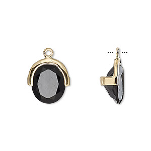 drop, black onyx (dyed) and gold-finished sterling silver, 13x12.5mm single-sided faceted oval. sold individually.