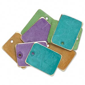 drop, brass, assorted bright patina, assorted pantone colors, 20x15mm double-sided rectangle. sold per pkg of 8.