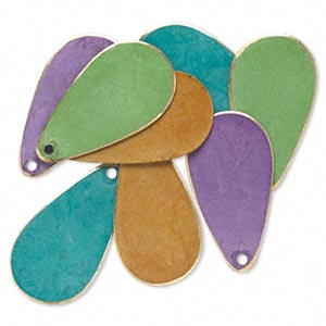 drop, brass, assorted bright patina, assorted pantone colors, 24x12mm double-sided teardrop. sold per pkg of 8.