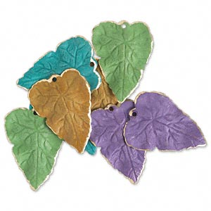 drop, brass, assorted bright patina, assorted pantone colors, 26x20mm double-sided leaf. sold per pkg of 8.