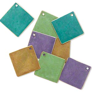 drop, brass, assorted bright patina, assorted pantone colors, 27x27mm double-sided diamond. sold per pkg of 8.