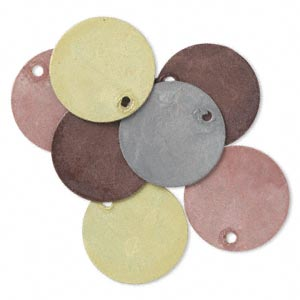 drop, brass, assorted earth tone patina, assorted pantone colors, 15mm double-sided flat round. sold per pkg of 8.