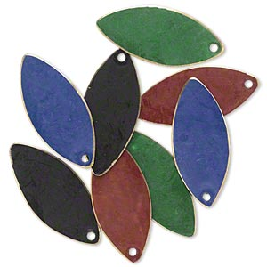 drop, brass, assorted jewel tone patina, assorted pantone colors, 26x11mm double-sided marquise. sold per pkg of 8.