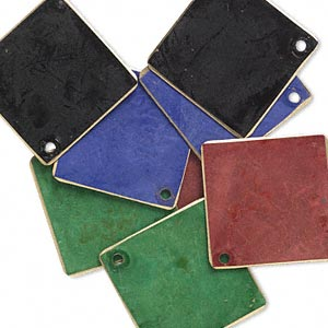 drop, brass, assorted jewel tone patina, assorted pantone colors, 27x27mm double-sided diamond. sold per pkg of 8.