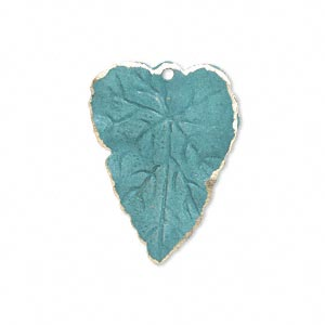 drop, brass, bright teal patina, pantone color 17-4818, 26x20mm double-sided leaf. sold per pkg of 6.