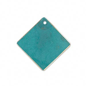 drop, brass, bright teal patina, pantone color 17-4818, 27x27mm double-sided diamond. sold per pkg of 6.