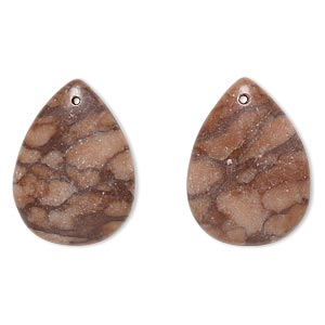 drop, brown zebra stone (natural), 24x18mm-25x19mm puffed teardrop with flat back, c grade, mohs hardness 6-1/2 to 7. sold per pkg of 2.