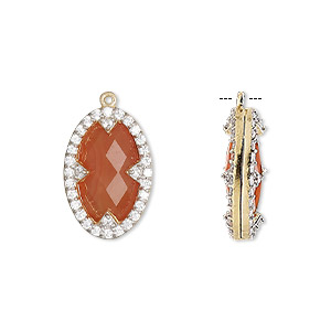 drop, carnelian (dyed / heated) / cubic zirconia / gold-finished sterling silver, clear, 18x12mm double-sided faceted oval. sold individually.