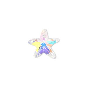 drop, celestial crystal, clear ab, 15x14mm hand-cut faceted starfish. sold per pkg of 4.