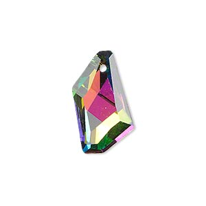 drop, celestial crystal, clear vitrail with silver-colored foil back, 22x12mm faceted stellar. sold per pkg of 2.
