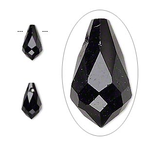 drop, celestial crystal, jet, 11x6mm faceted teardrop. sold per pkg of 6.