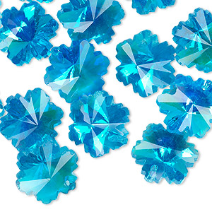 drop, celestial crystal, light blue ab, 14x13mm faceted snowflake. sold per pkg of 16.