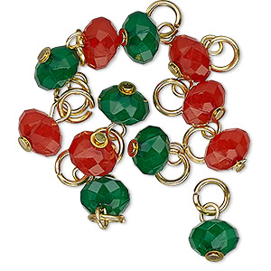 drop, charmed, acrylic and gold-finished steel, red and green, 8x5mm faceted rondelle. sold per pkg of 12.
