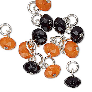drop, charmed, acrylic and silver-finished steel, orange and black, 8x5mm faceted rondelle. sold per pkg of 12.