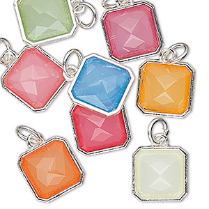 drop, charmed, resin with silver-finished steel and pewter (zinc based alloy), multicolored, 12mm faceted square. sold per pkg of 8.