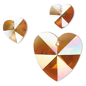 drop, coated glass, rose blush, 14mm and 28mm faceted heart. sold per 3-piece set.