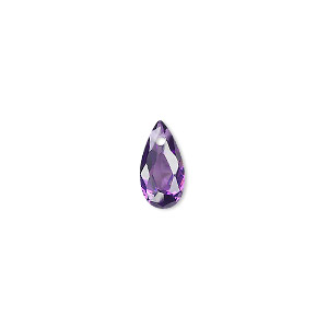 drop, cubic zirconia, amethyst purple, 12x6mm hand-faceted teardrop, mohs hardness 8-1/2. sold per pkg of 4.