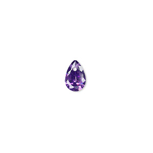 drop, cubic zirconia, amethyst purple, 9x6mm hand-faceted teardrop, mohs hardness 8-1/2. sold per pkg of 6.
