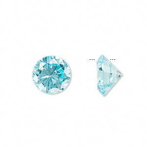 drop, cubic zirconia, aqua blue, 12mm hand-faceted round, mohs hardness 8-1/2. sold per pkg of 2.
