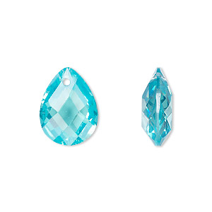 drop, cubic zirconia, aqua blue, 16x12mm hand-faceted teardrop, mohs hardness 8-1/2. sold per pkg of 2.
