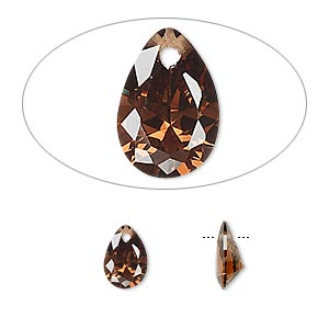 drop, cubic zirconia, brown, 9x6mm hand-faceted teardrop, mohs hardness 8-1/2. sold per pkg of 2.