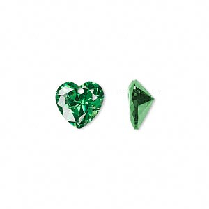 drop, cubic zirconia, emerald green, 10x10mm hand-faceted heart, mohs hardness 8-1/2. sold per pkg of 2.