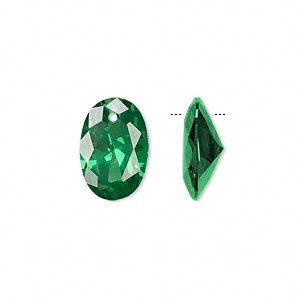 drop, cubic zirconia, emerald green, 15x10mm hand-faceted oval, mohs hardness 8-1/2. sold per pkg of 2.
