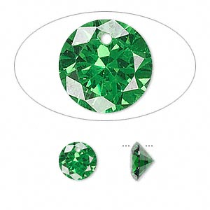 drop, cubic zirconia, emerald green, 8mm hand-faceted round, mohs hardness 8-1/2. sold per pkg of 2.