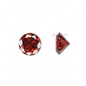 drop, cubic zirconia, garnet red, 12mm hand-faceted round, mohs hardness 8-1/2. sold per pkg of 4.