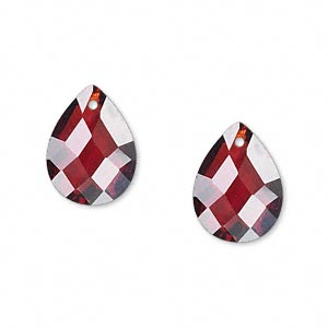drop, cubic zirconia, garnet red, 16x12mm hand-faceted teardrop, mohs hardness 8-1/2. sold per pkg of 2.