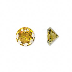 drop, cubic zirconia, gold, 12mm hand-faceted round, mohs hardness 8-1/2. sold per pkg of 4.
