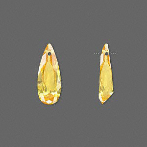 drop, cubic zirconia, gold, 18x7mm hand-faceted teardrop, mohs hardness 8-1/2. sold per pkg of 2.
