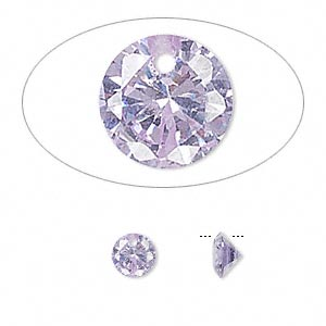 drop, cubic zirconia, lavender, 6mm hand-faceted round, mohs hardness 8-1/2. sold per pkg of 12.