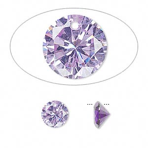 drop, cubic zirconia, lavender, 8mm hand-faceted round, mohs hardness 8-1/2. sold per pkg of 8.