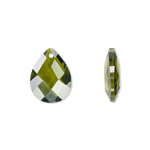 drop, cubic zirconia, olive green, 16x12mm hand-faceted teardrop, mohs hardness 8-1/2. sold per pkg of 2.