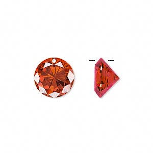 drop, cubic zirconia, orange, 12mm hand-faceted round, mohs hardness 8-1/2. sold per pkg of 4.