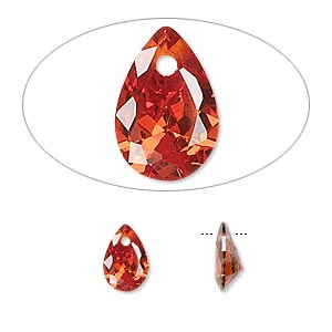 drop, cubic zirconia, orange, 9x6mm tpo-drilled faceted teardrop, mohs hardness 8-1/2. sold per pkg of 6.