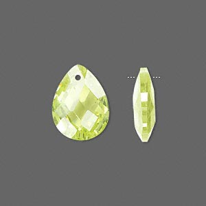 drop, cubic zirconia, peridot green, 16x12mm hand-faceted teardrop, mohs hardness 8-1/2. sold per pkg of 2.