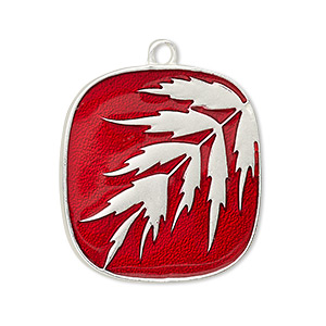 drop, enamel and silver-plated pewter (tin-based alloy), red, 29x29mm single-sided matte rectangle with leaves. sold individually.