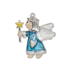drop, enamel and silver-plated pewter (zinc-based alloy), multicolored, 25x24mm single-sided angel with star wand. sold individually.
