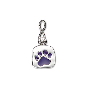 drop, enamel with imitation rhodium-plated brass and pewter (zinc-based alloy), purple, 12x11.5mm single-sided uneven square with paw print design. sold individually.