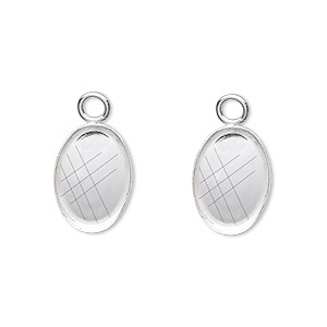 drop, fine silver, 14x10mm oval bezel cup setting with open loop. sold per pkg of 2.