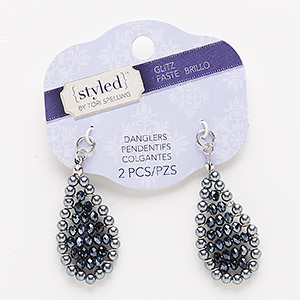 drop, glass / glass pearl / silver-finished pewter (zinc-based alloy), black luster and grey, 43x24mm teardrop. sold per pkg of 2.