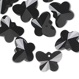 drop, glass, black, 14x11mm faceted butterfly. sold per pkg of 16.