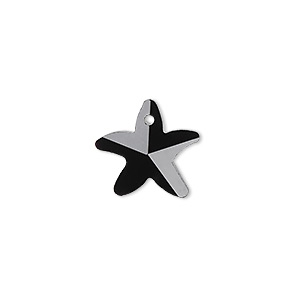 drop, glass, black, 15x14mm hand-cut faceted starfish. sold per pkg of 4.