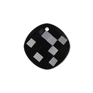 drop, glass, black, 21mm double-sided faceted modified round. sold per pkg of 2.