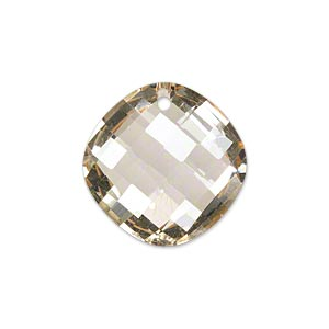 drop, glass, champagne, 21mm double-sided faceted modified round. sold per pkg of 2.