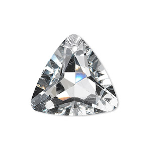 drop, glass, clear, foil back, 25x25x25mm faceted triangle. sold per pkg of 2.