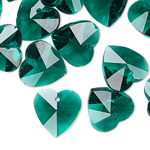 drop, glass, green, 14mm faceted heart. sold per pkg of 16.